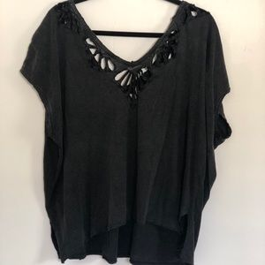 Free people grey cut out shirt